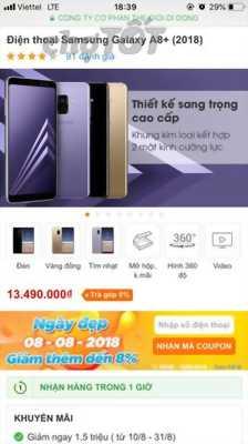 Samsung A8 plus 99% đồng xoài