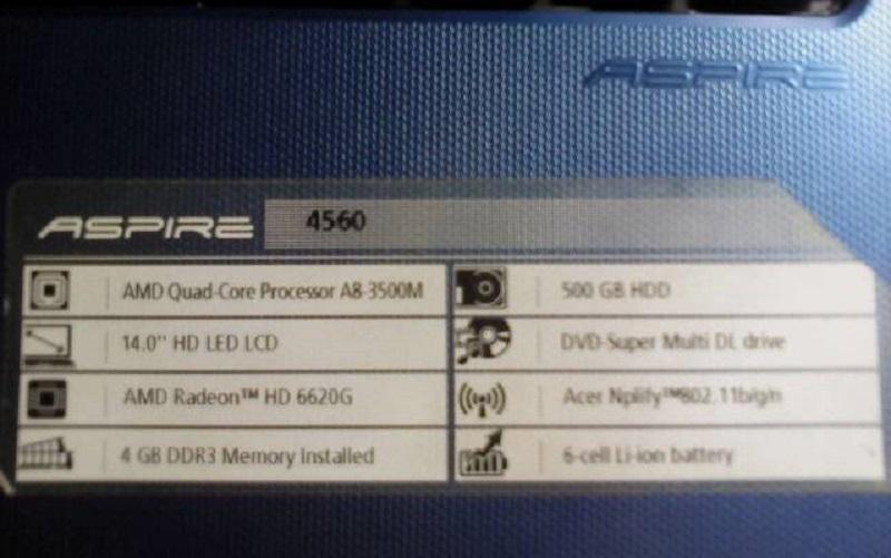 laptop acer 4560