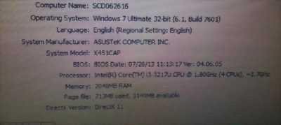 Laptop Asus F451 i3 2g . 500g. Mới 96%