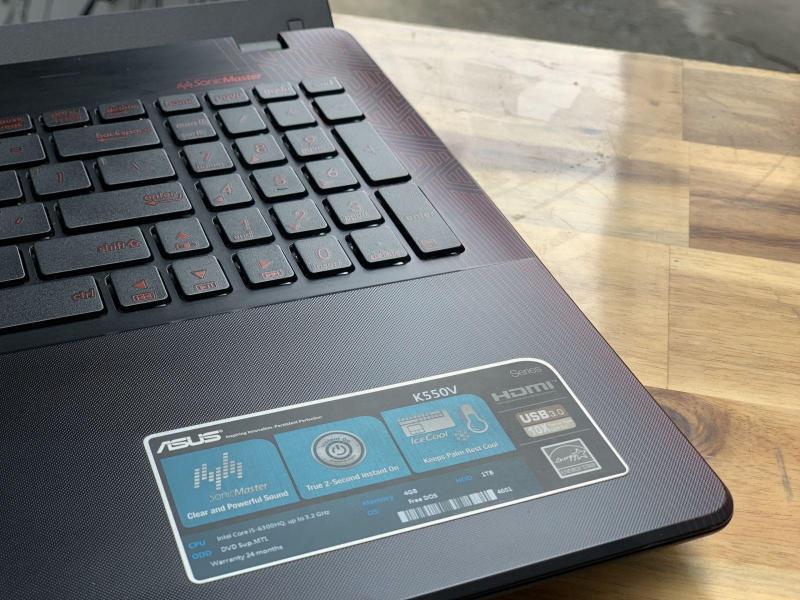 Laptop Asus Gaming K550V, i5 6300HQ 4G SSD128+500G Vga GTX950M Full HD Đẹp zin 100% Giá rẻ