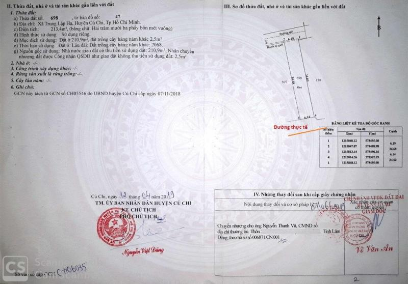 Cần bán lô đất Trung Lập Hạ huyện Củ Chi giá 7,2tr/m2 thổ cư