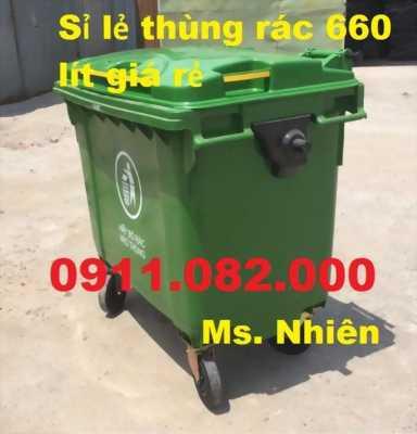 PP thùng rác 660 lít giá rẻ tại đồng tháp- lh 0911.082.000