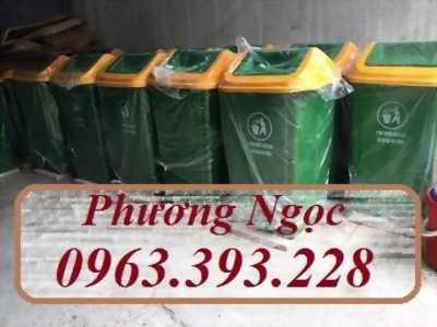 Thùng rác nhựa công nghiệp, thùng rác nắp bập bênh, thùng rác 60L