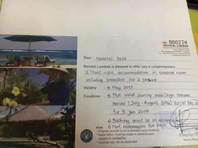 Voucher phòng ở tại Novotel Lombok (Indo)