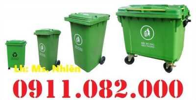 Bán thùng rác 120L 240L giá sỉ lẻ- Thùng rác nhựa hdpe nắp kín 2 bánh xe- 0911.082.000