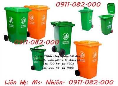 chuyên cung cấp thùng rác 120 lít 240 lít màu xanh giá rẻ- thùng rác giá sỉ lẻ tại cà mau
