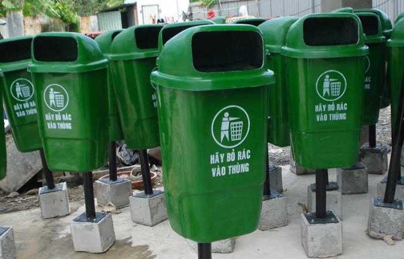 Thùng rác treo đơn 55l, thùng rác đơn nhựa composite