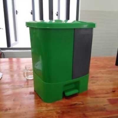 Thùng rác 2 ngăn 40L, thùng rác có đạp chân phân loại rác thải hữu cơ