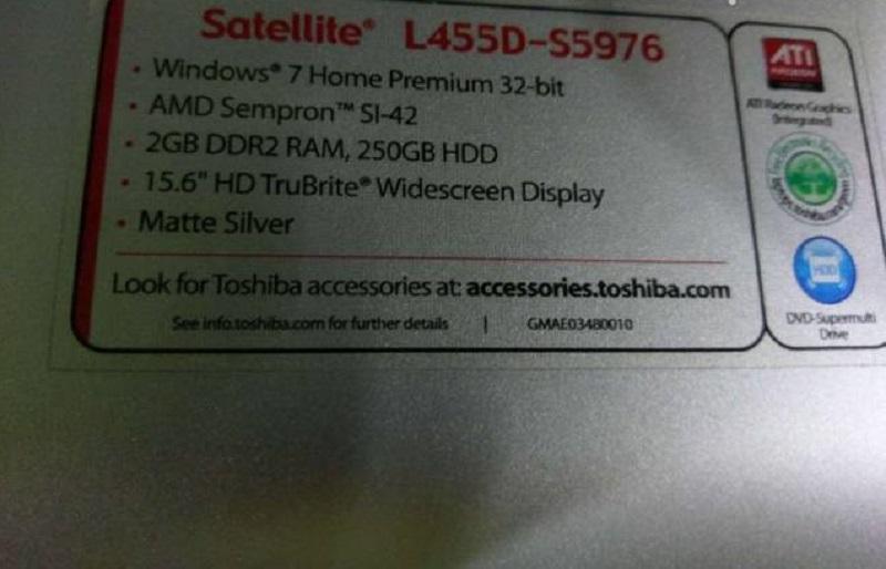 toshiba L455D