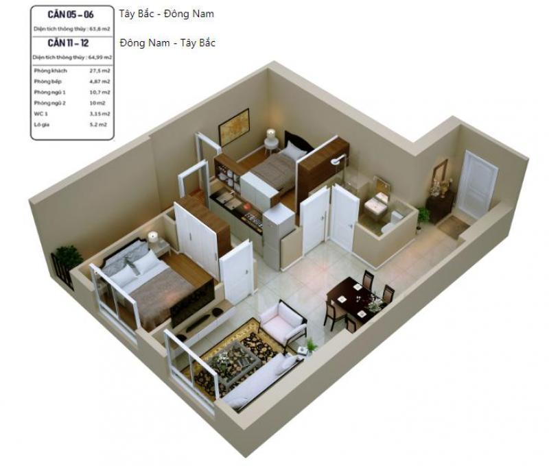 Căn hộ 2 phòng ngủ chỉ từ 1 tỷ 2  Ưu đãi trong tháng 6 này