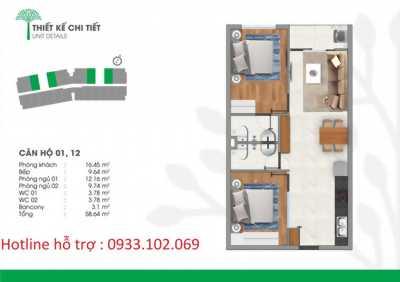 Chỉ còn 8 căn 2 Phòng Ngủ giá gốc CĐT  930TR Dự án Vista Riverside!!