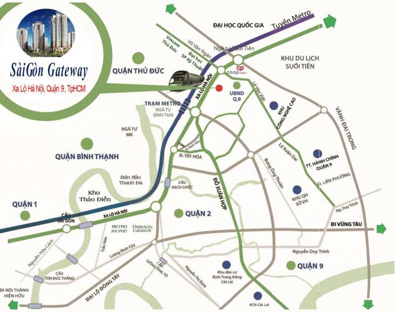 Mở bán căn hộ Saigon Gateway. 2PN - 3PN. DT: 50 - 80m2
