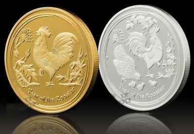 Cặp Xu Úc Mạ Vàng Mạ Bạc Hình Con Gà