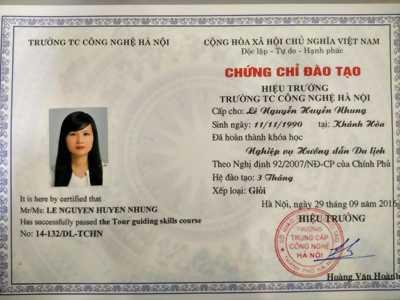 Chứng chỉ nghiệp vụ hướng dẫn viên, hỗ trợ đổi thẻ hướng dẫn viên tại Nha Trang, Đà Lạt