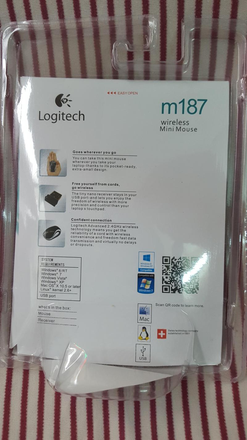 Chuột không dây Logitech M187, màu xanh nhỏ gọn
