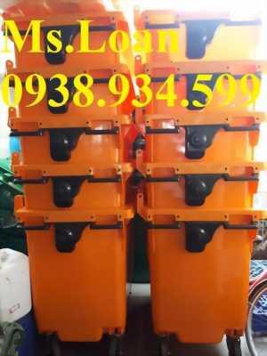 xe thu gom rác 660 lít 4 bánh xe,thùng rác y tế ,xe đẩy rác y tế màu vàng 660l