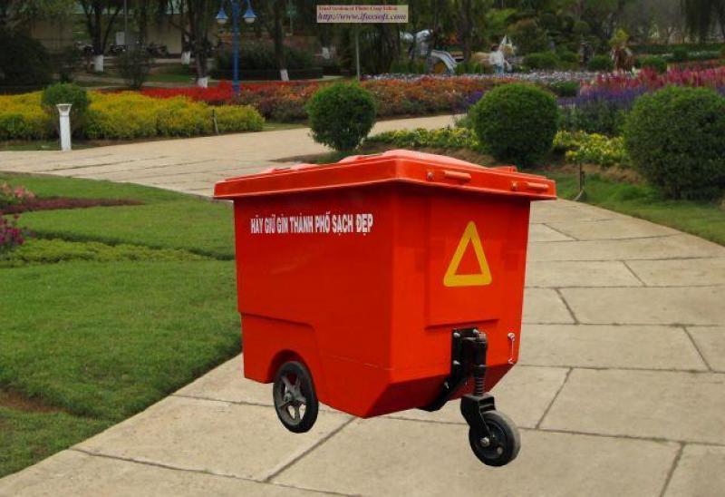 Xe đẩy rác 600lit,thùng rác nhựa HDPE 660LIT 3 BÁNH XE