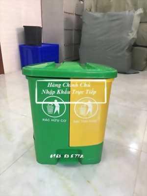 Bán thùng rác đạp chân 2 ngăn nhựa hdpe.