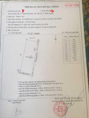 Gia đình cần tiền trả nợ, bán gấp 8804 m2 đất thị xã Bến Cát, LH 0942988577, chỉ 1,35 triệu/m2