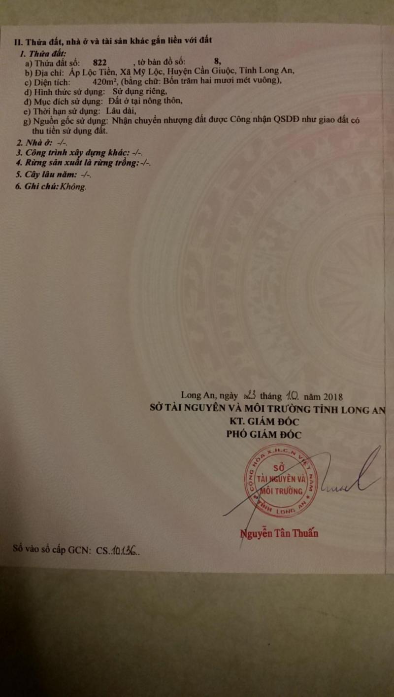 Bán 420m2 đất thổ cư ấp Lộc Tiền, xã Mỹ Lộc. LH: 0934.185.189