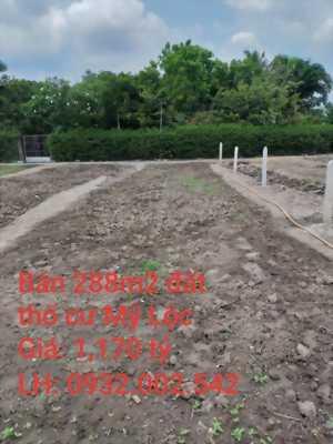 Bán 288m2 đất thổ cư hẻm xe ba gác đường Tư Nhựt, Mỹ Lộc, Cần Giuộc, Long An