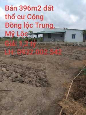 Bán 396m2 đất thổ cư hẻm xe ba gác đường Cộng Đồng Lộc Trung, xã Mỹ Lộc, Cần Giuộc, LA. Giá 1,2 tỷ