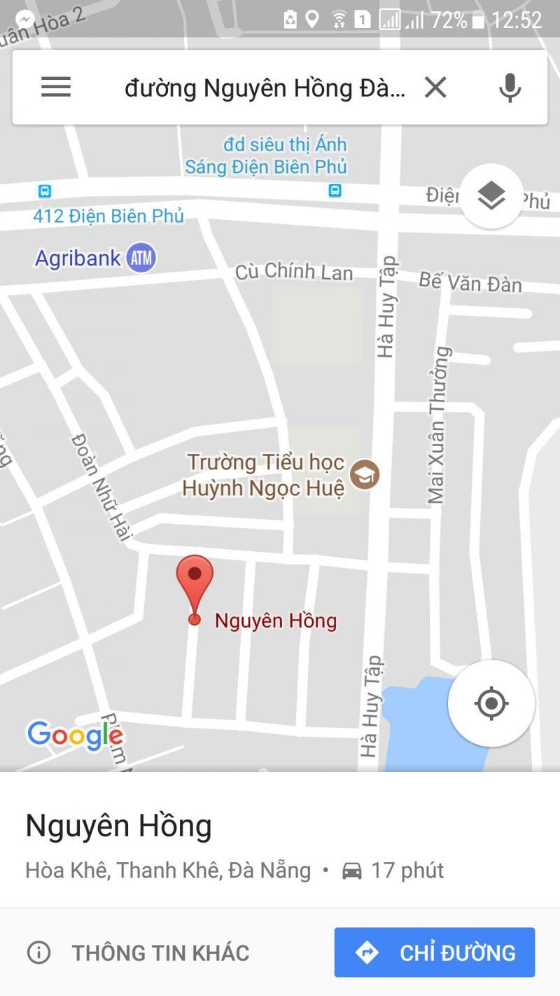 Cần bán đất đường Nguyên Hồng Hòa Khê – Thanh Khê