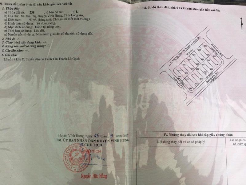 Bán 5 lô đất nền thổ cư ở Vĩnh Hưng, Long An