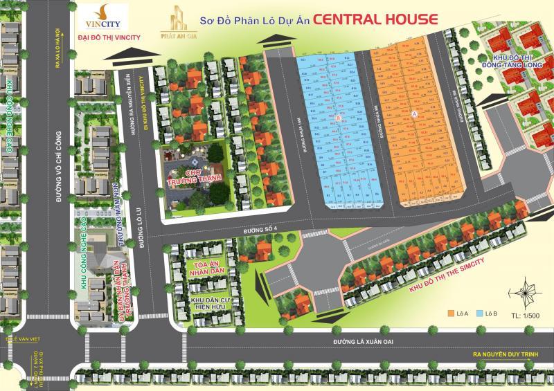 Đất mặt tiền ngay trung tâm hành chính Quận 9 ( Dự án Central House )