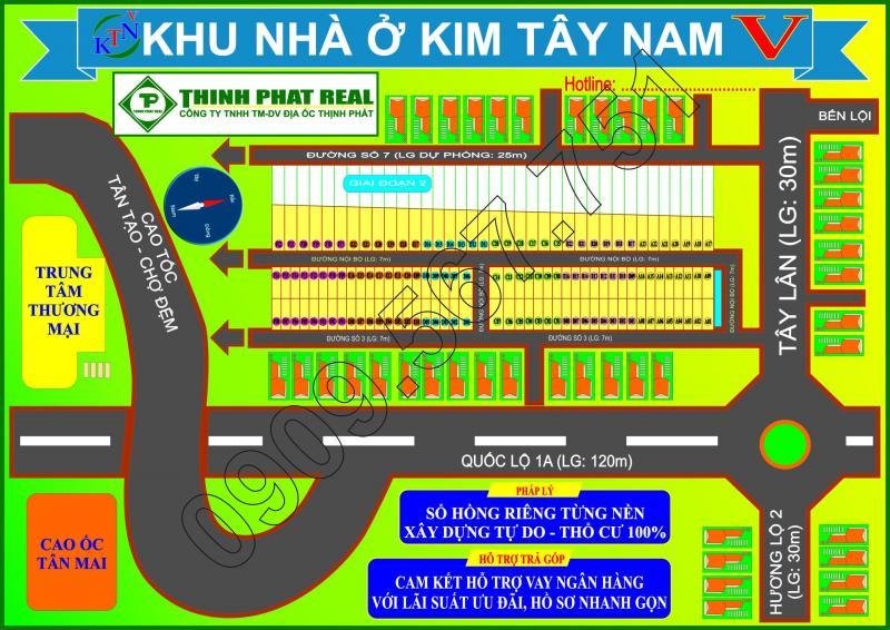 Mở bán KDC Kim Tây Nam ngay ngã tư Tây Lân