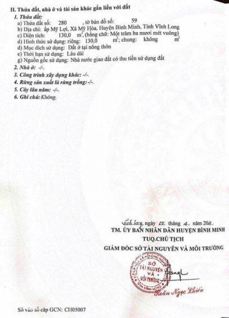 Bán đất nền KCN Bình Minh Vĩnh Long