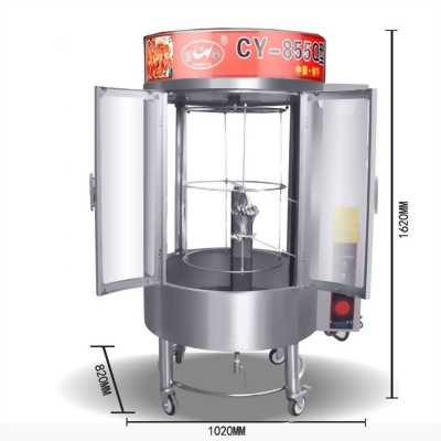 Lò quay gà vịt kính trong dùng than,gas hoặc điện