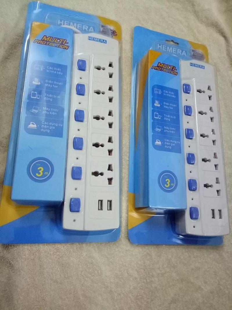 Ổ cắm điện Hemera - 5 Jack Cắm điện + 2 Jack USB tiện dụng