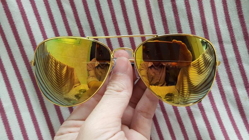 Mắt kính tráng gương thời trang nam nữ - Màu vàng