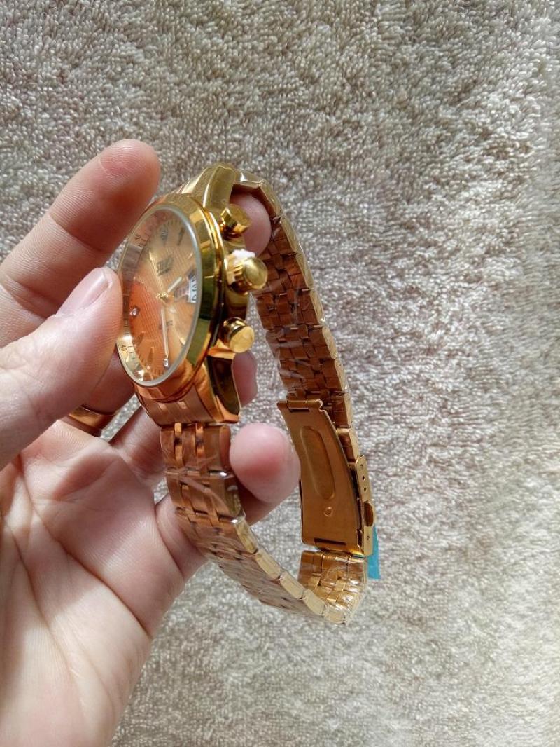 Đồng hồ Nam dây thép Sino - Dây vàng, mặt vàng