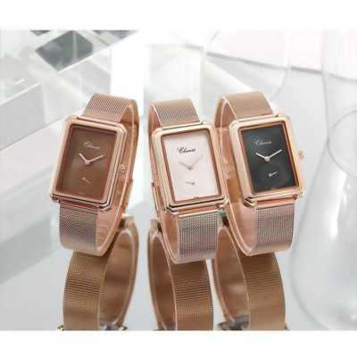 Đồng hồ nữ vuông dây thép nhuyễn đơn giản