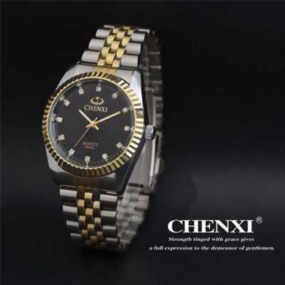 Đồng hồ nam đẹp dây sọc vàng lịch lãm