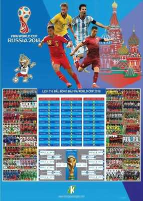 Thiết kế In lịch World Cup 2018 giá rẻ