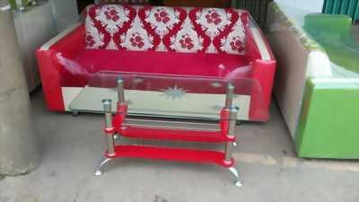 Ghế băng sofa tặng kèm đôn ngồi,kèm bàn kính cao cấp