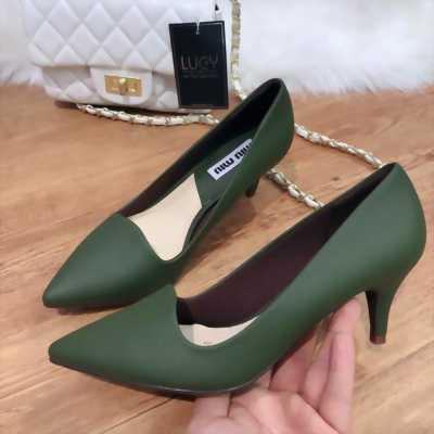 Giày cao gót da lộn màu xanh rêu