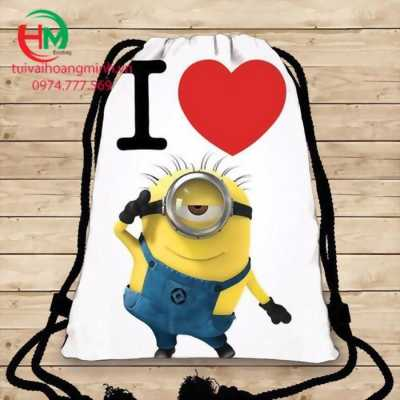 Balo  dây rút  Minion  I LOVE YOU