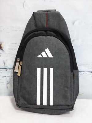 Túi nam đeo chéo thể thao xám đen phối sọc trắng TDC0022
