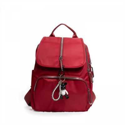 Ba lô nữ thời trang đỏ đô loại tốt kèm móc khóa BALOSUMO0005