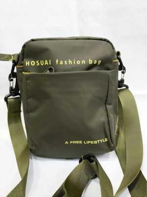 Túi đeo chéo mini màu xanh rêu in chữ Hosuai vàng thời trang TDC0030