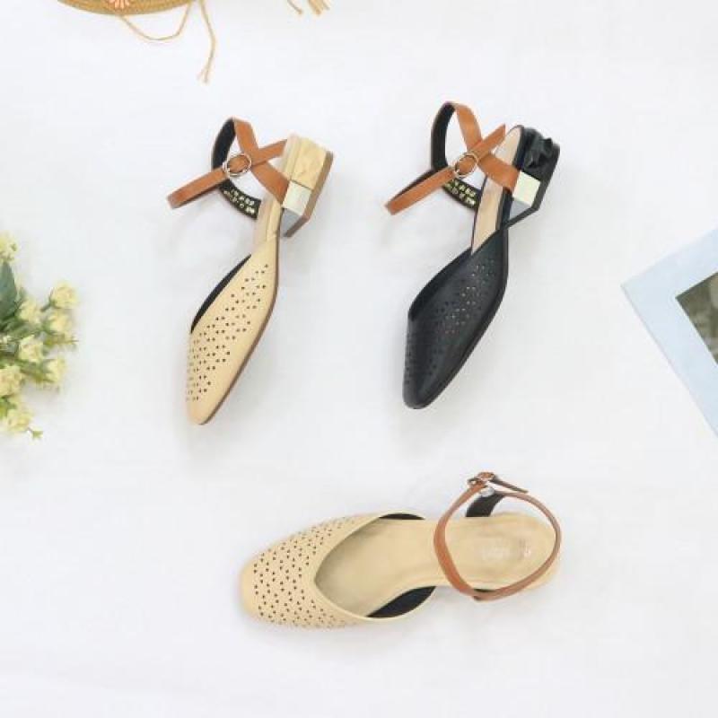Sandal giày 3P mũi vuông cắt laze