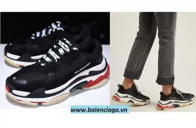 Giày Balenciaga Triple S phối màu đen-trắng-đỏ