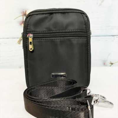 Túi đeo chéo vải dù màu đen trơn chống thấm nước TDC0003