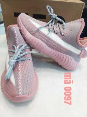 Giày sneaker thể thao nữ màu hồng phối điểm xám viền bên vệt trắng Mã 0097