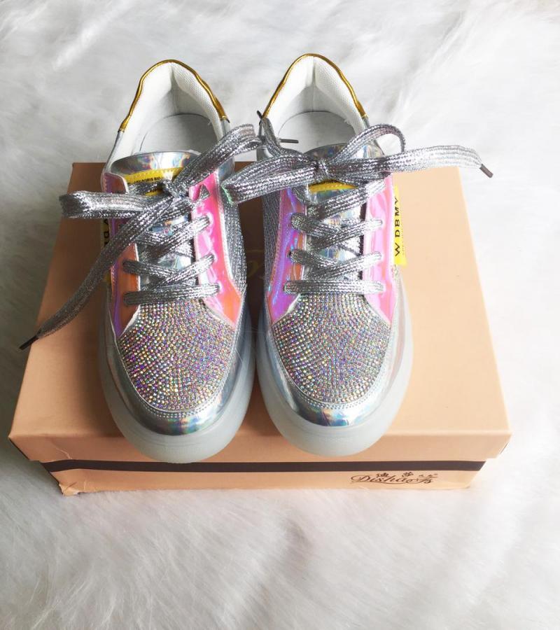 Giày thể thao nữ kim tuyến bạc sáng phối viền hồng bóng Mã 319-3