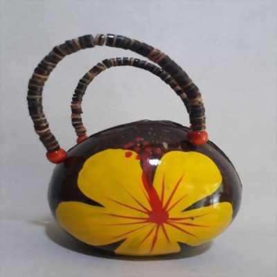 Túi xách tay nữ thời trang hình trái dừa hoạ tiết hoa